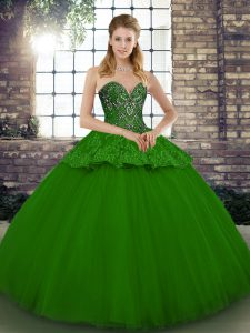 Green Tulle Lace Up Sweetheart Sleeveless Floor Length Sweet 16 Dress Beading and Appliques