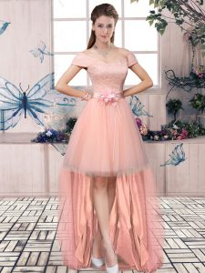 Pink A-line Lace and Hand Made Flower Lace Up Tulle Short Sleeves High Low