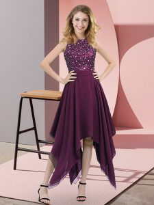 Best Sleeveless Zipper Asymmetrical Beading and Sequins Homecoming Dress