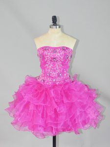 Stylish Fuchsia Organza Lace Up Dress for Prom Sleeveless Mini Length Beading and Ruffles