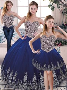 Decent Embroidery Vestidos de Quinceanera Royal Blue Lace Up Sleeveless Floor Length