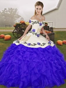 Blue Lace Up Quinceanera Dresses Embroidery and Ruffles Sleeveless Floor Length