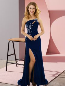 Royal Blue Column/Sheath Elastic Woven Satin One Shoulder Sleeveless Beading Lace Up Prom Dress Sweep Train