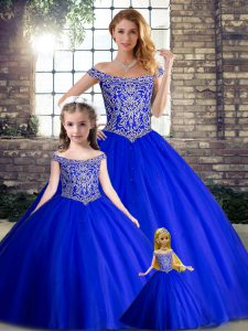 Elegant Royal Blue Tulle Lace Up Quince Ball Gowns Sleeveless Brush Train Beading