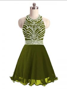 On Sale Chiffon Halter Top Sleeveless Lace Up Beading Dress for Prom in Olive Green