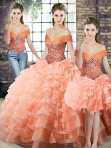Glittering Peach Three Pieces Beading and Ruffled Layers Ball Gown Prom Dress Lace Up Organza Sleeveless