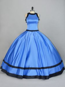 Sleeveless Satin Floor Length Lace Up Vestidos de Quinceanera in Blue with Ruching