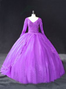 Most Popular Purple Ball Gowns V-neck Long Sleeves Tulle Floor Length Lace Up Lace and Appliques Ball Gown Prom Dress