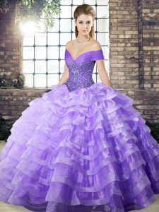 Suitable Lavender Lace Up Off The Shoulder Beading and Ruffled Layers Ball Gown Prom Dress Organza Sleeveless Brush Train