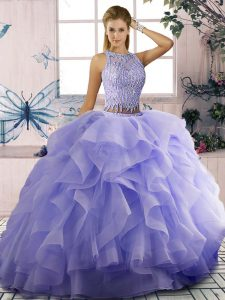 Lavender Sleeveless Beading and Ruffles 15th Birthday Dress