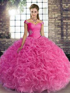 Rose Pink Sweet 16 Dresses Military Ball and Sweet 16 and Quinceanera with Beading Off The Shoulder Sleeveless Lace Up
