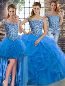Three Pieces Sleeveless Blue Quinceanera Dresses Brush Train Lace Up
