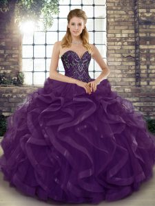 Edgy Dark Purple Sweetheart Neckline Beading and Ruffles Quinceanera Dress Sleeveless Lace Up