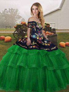 Customized Tulle Sleeveless 15th Birthday Dress Brush Train and Embroidery and Ruffled Layers
