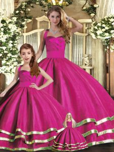 Cheap Fuchsia Halter Top Neckline Ruffled Layers Ball Gown Prom Dress Sleeveless Lace Up