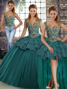 Sleeveless Lace Up Floor Length Beading and Appliques Ball Gown Prom Dress