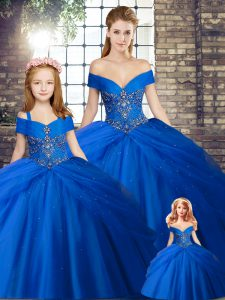 Royal Blue Ball Gowns Off The Shoulder Sleeveless Tulle Brush Train Lace Up Beading and Pick Ups 15 Quinceanera Dress
