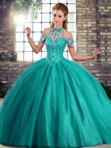 Admirable Sleeveless Beading Lace Up 15 Quinceanera Dress with Turquoise Brush Train