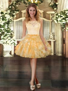 Best Selling Sleeveless Mini Length Lace and Ruffles Zipper with Gold