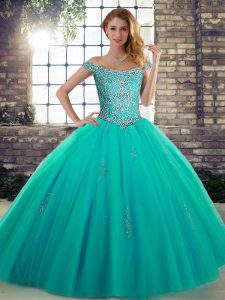 Suitable Tulle Sleeveless Floor Length Sweet 16 Quinceanera Dress and Beading