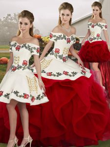 Attractive Off The Shoulder Sleeveless Tulle Sweet 16 Dresses Embroidery and Ruffles Lace Up