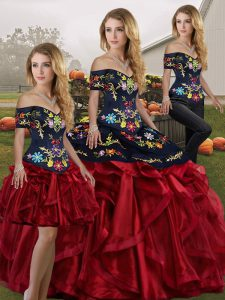 Three Pieces Sweet 16 Dresses Red And Black Off The Shoulder Organza Sleeveless Floor Length Lace Up