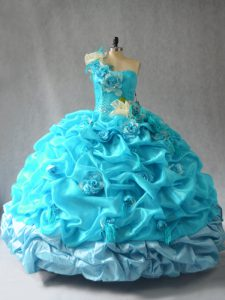 Hot Sale Sleeveless Lace Up Floor Length Pick Ups and Hand Made Flower Quinceanera Dresses