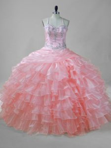 Hot Sale Halter Top Sleeveless Sweet 16 Dress Floor Length Beading and Ruffled Layers Pink Organza