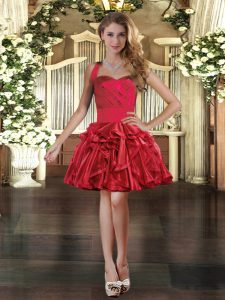 Shining Mini Length Ball Gowns Sleeveless Red Evening Dress Lace Up
