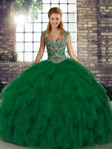 Green Organza Lace Up Vestidos de Quinceanera Sleeveless Floor Length Beading and Ruffles