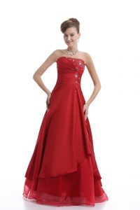 On Sale Red A-line Organza Strapless Sleeveless Embroidery Floor Length Lace Up Homecoming Dress