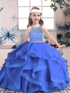 Cheap Scoop Sleeveless Tulle Little Girl Pageant Gowns Beading and Ruffles Lace Up
