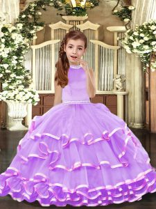 Latest Lavender Backless Halter Top Beading and Ruffled Layers Winning Pageant Gowns Organza Sleeveless