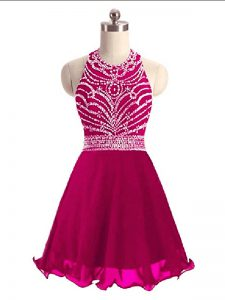 Suitable Mini Length Lace Up Prom Evening Gown Hot Pink for Prom and Party with Beading