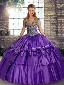 Glittering Beading and Ruffled Layers Vestidos de Quinceanera Purple Lace Up Sleeveless Floor Length