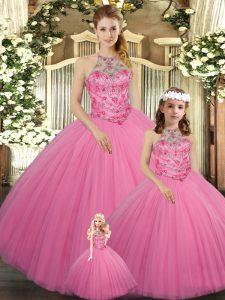 Beading Quinceanera Dresses Rose Pink Lace Up Sleeveless Floor Length