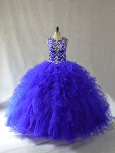 Floor Length Lace Up 15 Quinceanera Dress Royal Blue for Sweet 16 and Quinceanera with Beading and Ruffles