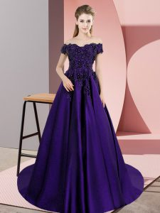 Most Popular Lace Vestidos de Quinceanera Purple Zipper Sleeveless Court Train