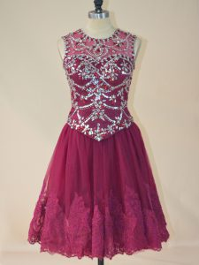 Burgundy A-line Tulle Scoop Sleeveless Beading and Lace Mini Length Lace Up Prom Dress