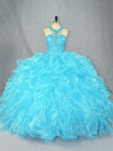 Charming Sleeveless Floor Length Beading and Ruffles Zipper Quince Ball Gowns with Baby Blue