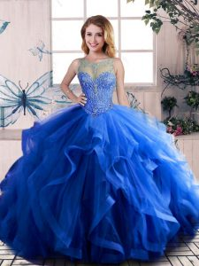 Royal Blue Ball Gowns Scoop Sleeveless Tulle Floor Length Lace Up Beading and Ruffles Sweet 16 Dresses