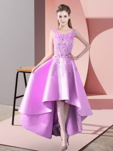 High Low Lilac Bridesmaid Dresses Satin Sleeveless Lace