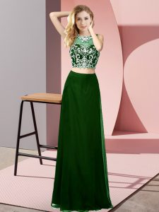Noble Sleeveless Chiffon Floor Length Backless Homecoming Dress Online in Dark Green with Beading