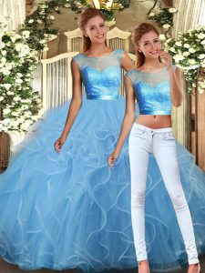 Floor Length Baby Blue Ball Gown Prom Dress Scoop Sleeveless Backless