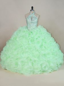 Fabric With Rolling Flowers Halter Top Sleeveless Lace Up Beading and Ruffles 15 Quinceanera Dress in Apple Green