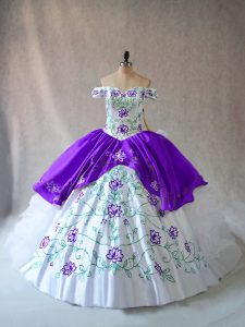 Great Off The Shoulder Sleeveless Lace Up Quinceanera Gowns White And Purple Organza
