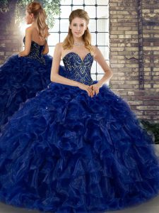 Popular Floor Length Lace Up Sweet 16 Dress Royal Blue for Military Ball and Sweet 16 and Quinceanera with Beading and Ruffles