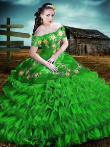 Graceful Green Off The Shoulder Neckline Embroidery and Ruffles 15 Quinceanera Dress Sleeveless Lace Up