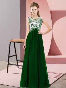 Custom Made Dark Green Empire Chiffon Scoop Sleeveless Beading and Appliques Floor Length Zipper Bridesmaid Gown