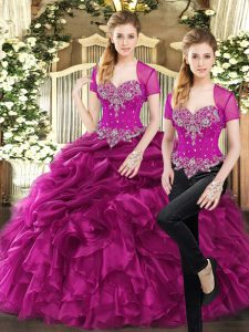 Beading and Ruffles and Pick Ups Quinceanera Gown Fuchsia Lace Up Sleeveless Floor Length